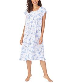 Floral-Print Pointelle Waltz Nightgown