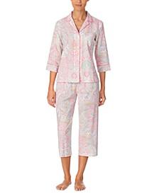 Printed Woven Capri Pajama Set