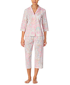 Lauren Ralph Lauren Printed Woven Capri Pajama Set