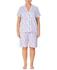Plus Size Printed Cotton Bermuda Short Pajama Set