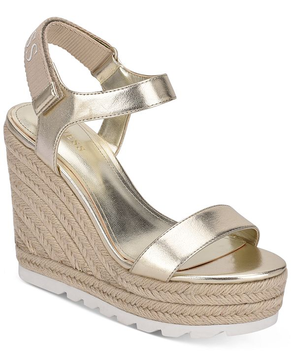 GUESS Women's Golden Espadrille Wedge Sandals