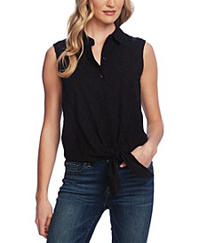 Eyelet Button-Down Tie-Front Blouse