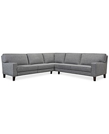 Sandrew 3-Pc. Fabric Sectional with 2 Power Foot Rests, Created for Macy's