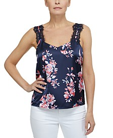 Floral-Print Lace-Trim Sleeveless Top