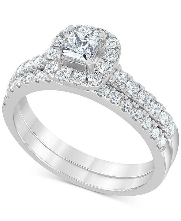 Macy's Diamond Princess Halo Bridal Set (1 ct. t.w.) in 14k White Gold