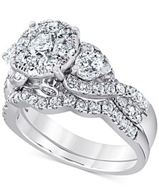 Diamond Halo Cluster Bridal Set (2 ct. t.w.) in 14k White Gold