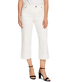 Stretch-Twill Cropped Wide-Leg Pants