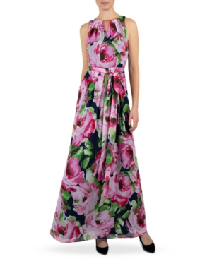 Floral-Print Keyhole Maxi Dress