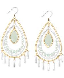 Two-Tone Stone & Imitation Coin Pearl Orbital Drop Earrings