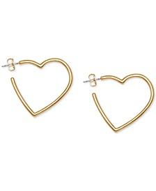 Gold-Tone Heart Hoop Earrings
