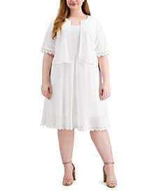 Plus Size 2-Pc. Cropped Eyelet Jacket & Dress Set
