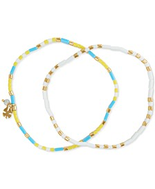 Gold-Tone 2-Pc. Set Flat Beaded Stretch Bracelets