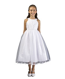 Big Girl Embroidered Communion Dress