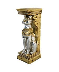 Egyptian Cat Goddess Bastet Pedestal Statue