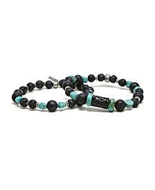 Raw Lava Stone and Turquoise Elastic Beaded Bracelet, Pack of 2