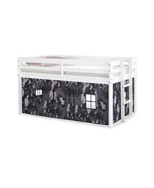 Jasper Twin Junior Loft Bed, Frame and Print Bottom Playhouse Tent
