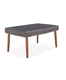 Athens All-Weather Wicker Outdoor Coffee Table with Glass Top