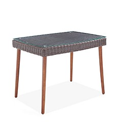 Athens All-Weather Wicker Outdoor Cocktail Table with Glass Top