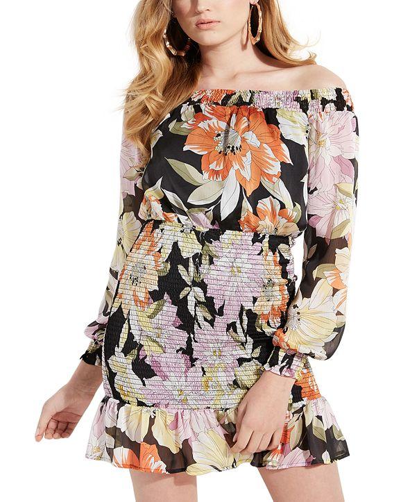 GUESS Gabby Smocked Floral-Print Mini Dress
