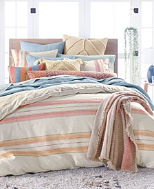 Baja Stripe Quilted Cotton 230-Thread Count 3-Pc. King Duvet Set, Created for Macy's