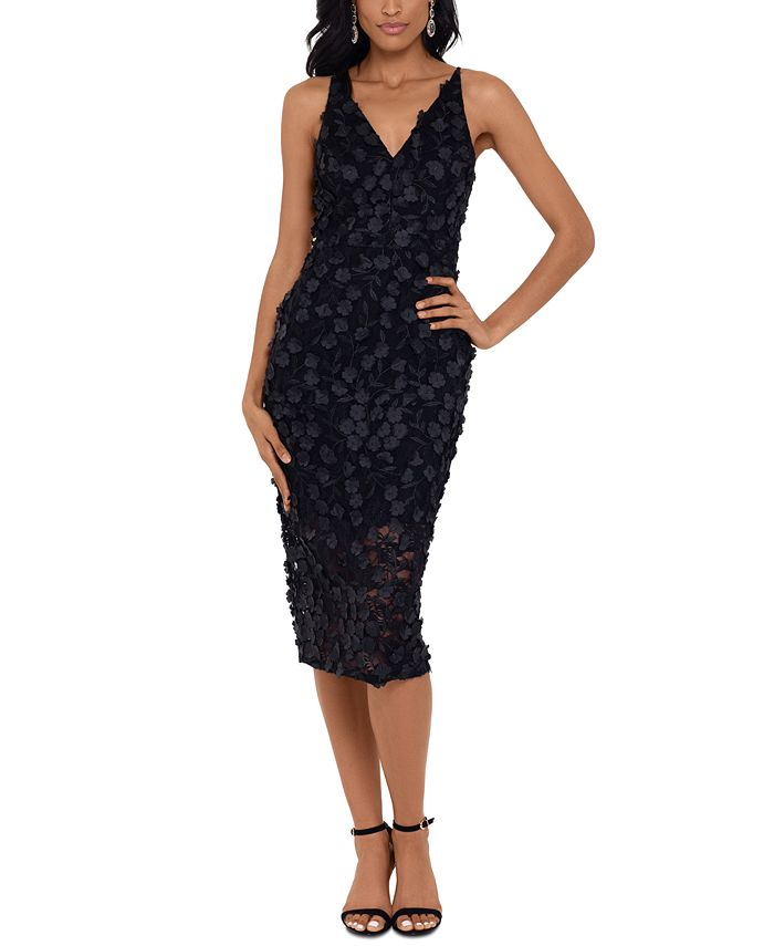 XSCAPE - Raised-Flower Lace Midi Dress