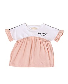 Little Girls Color Block Top with Ruffle Sleeve