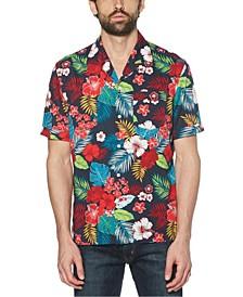 Men's Floral Print Short Sleeve Button-Down Shirt