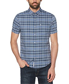 Men's Plaid Short Sleeve Button-Down Shirt