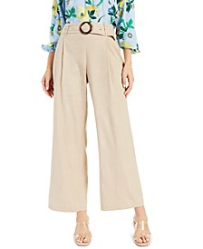 I.N.C. Petite Belted Pleated Wide-Leg Pants, Created for Macy's