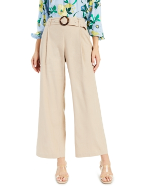 Inc International Concepts Inc Pleated Buckled Wide-leg Pants, Created For Macy's In Toasted Twine