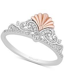 Enchanted Disney Diamond Ariel Tiara Ring (1/5 ct. t.w.) in Sterling Silver & 14k Rose Gold