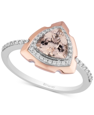 Enchanted Disney Morganite (1-1/6 ct. t.w.) & Diamond (1/5 ct. t.w.) Aurora Two-Tone Ring in Sterling Silver & 14k Rose Gold