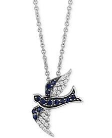 "Enchanted Disney Sapphire (1/5 ct. t.w.) & Diamond (1/10 ct. t.w.) Cinderella Bird Pendant Necklace in Sterling Silver, 16"" + 2"" extender"