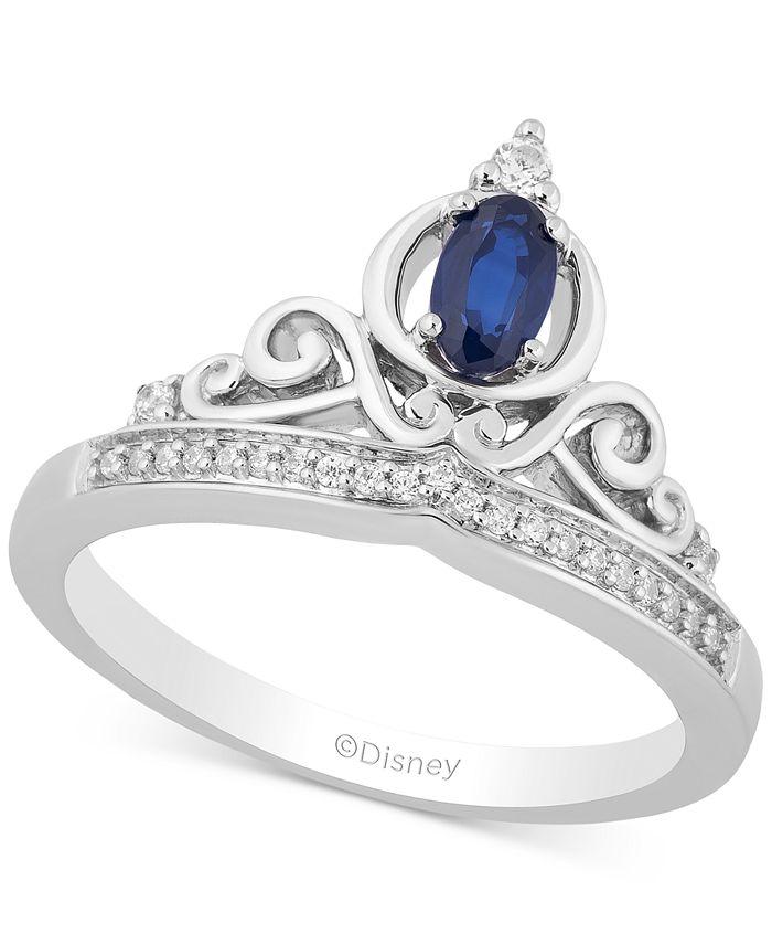Macy's - Sapphire (1/3 ct. t.w.) & Diamond (1/10 ct. t.w.) Cinderella Tiara Ring in Sterling Silver