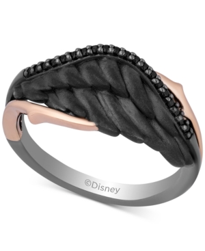 Enchanted Disney Diamond Maleficent Villains Wing Ring (1/10 ct. t.w.) in 14k Rose Gold & Black Rhodium-Plated Sterling Silver