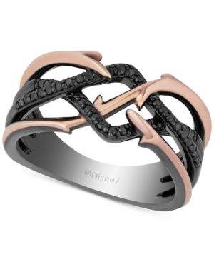Enchanted Disney Diamond Maleficent Villains Ring (1/5 ct. t.w.) in 14k Rose Gold & Black Rhodium-Plated Sterling Silver