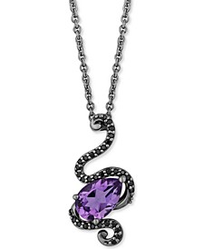 "Enchanted Disney Villains Amethyst (1-1/10 ct. t.w.) & Black Diamond (1/6 ct. t.w.) Ursula Snake Pendant Necklace in Black Rhodium Plated Sterling Silver, 16"" + 2"""