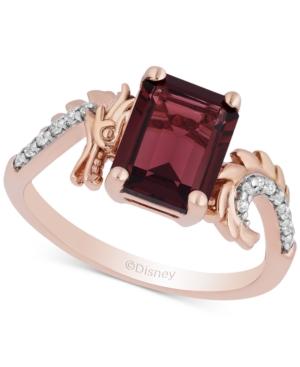 Enchanted Disney Rhodolite Garnet (3-3/4 ct. t.w.) & Diamond (1/10 ct. t.w.) Mulan Dragon Ring in 14k Rose Gold