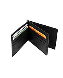 Genuine Leather Bill Fold Money Clip with Center Card Holder