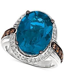 Deep Sea Blue Topaz (10-1/2 ct. t.w.) & Diamond (3/4 ct. t.w.) Ring in 14k White Gold