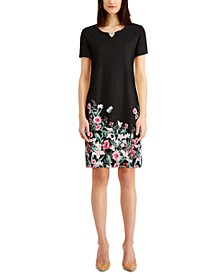 Plus Size Floral-Print Split-Neck Dress, Created for Macy's