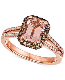 Peach Morganite (1-3/4 ct. t.w.) & Diamond (1/3 ct. t.w.) Statement Ring in 14k Rose Gold