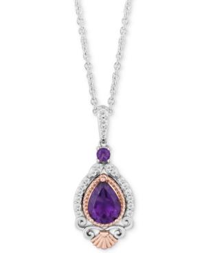 Enchanted Disney Amethyst (1 ct. t.w.) & Diamond (1/7 ct. t.w.) Ariel Pendant Necklace in Sterling Silver & 14k Rose Gold