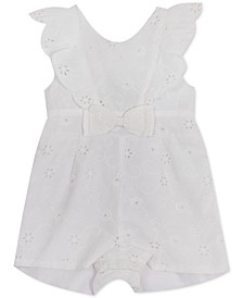 Baby Girls Eyelet Ruffled Bow-Detail Cotton Romper
