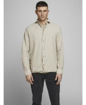 Mens Plain Cotton Linen Blend Shirt