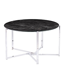 Hilo Round Cocktail Table with Faux Marble Glass Top