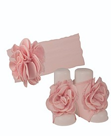 Baby Girls Cotton Headband with Oversized Flower and Matching Peep Toe Socks