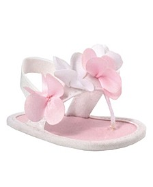 Baby Girls Fabric Crib Shoe with Flowers