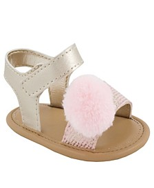 Baby Girls Sandal with Strap, Pom Pom Accent