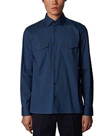 BOSS Men's Farley Open Blue Shirt